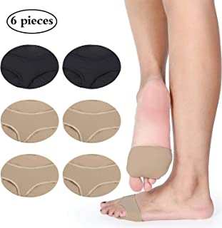 6 Pieces Metatarsal Gel Sleeve with Forefoot Cushion Pads Soft Fabric Half Toe Bunion Sleeve Pads for Feet Metatarsalgia Prevent Calluses Blisters (Black, Brown, Style 2)