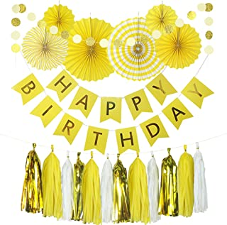 Monkey Home 20pcs of Tissue Paper Fans,Yellow Happy Birthday Banner Party Decorations Circle Dots,Paper Garland Tissue Paper Tassel for First Birthday Baby Shower Supplies (Yellow Theme)