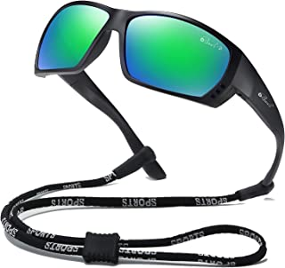 Sponsored Ad - Bevi Polarized Sports Sunglasses for Men Women TR90 Square Frame Glasses Flexible and Durable Sun Glasses