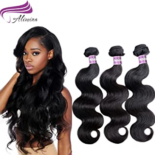 Alimina 8A Brazilian Body Wave Bundles Virgin Body Wave Human Hair Bundles Natural Color 3 Bundle Body Wave(12 14 16)
