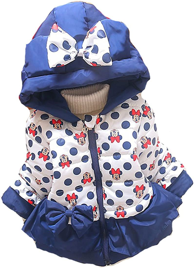 Minnie Mouse Winter Coat Baby Girls Hooded Jacket Christmas Outerwear Blue 1-3y
