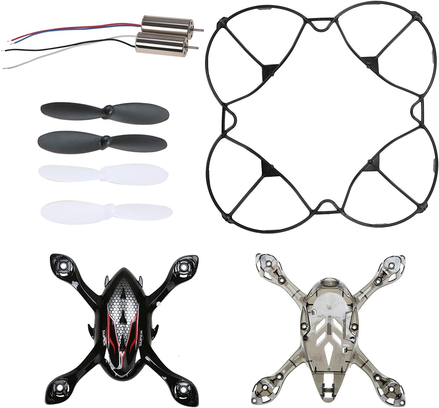 Holy Stone F180W RC Drone Quadcopter Spare Parts Crash Pack (2 Spare Blades Sets+ 4 Propeller Guard+ 2 Landing Gear + 2 Replacement Motors)