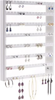 Angelynn's Stud Earring Holder Organizer Display Wall Mount Hanging Closet Jewelry Storage Rack, Luka White