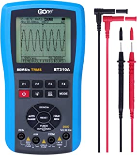 EONE Digital Oscilloscope Multimeter 2.0 Update Handheld LED Ohm Table Frequency Meter 4 in 1 Multi-Function, AC/DC Current Resistance Continuity Frequency Duty Cycle Diodes Transistors Tests ET310A