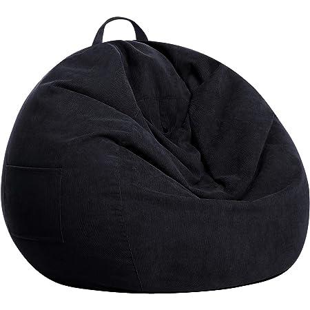 SANMADROLA Bean Bag Chair Cover (No Beans) Stuffed Animal Storage for Kids .Soft Premium Corduroy Stuffable Beanbag for Organizing Children Plush Toys or Memory Foam Small 100L (Black)