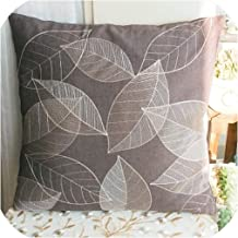 2pcs Elegant Reed Print Embroidery Cushion Cover American Rustic Style Pillowcase Sofa car Cushion Without Inner core,450mm450mm,Leaf