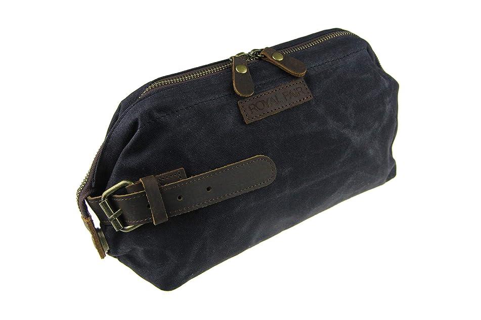 ROYALFAIR Toiletry Bag for Men Waterproof Real Leather Wrist Retro Canvas Dopp Kit Travel (Black)