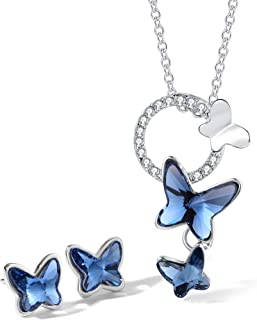 T400 Blue Butterfly Crystal Pendant Necklace and Drop Stud Earrings Jewelry Set Gift for Girls Women