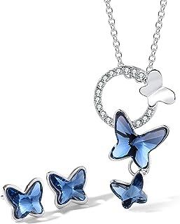 T400 Jewelers Conjuntos de Collar y Pendientes para Mujer Colgante de Mariposa con Cristal de Azul