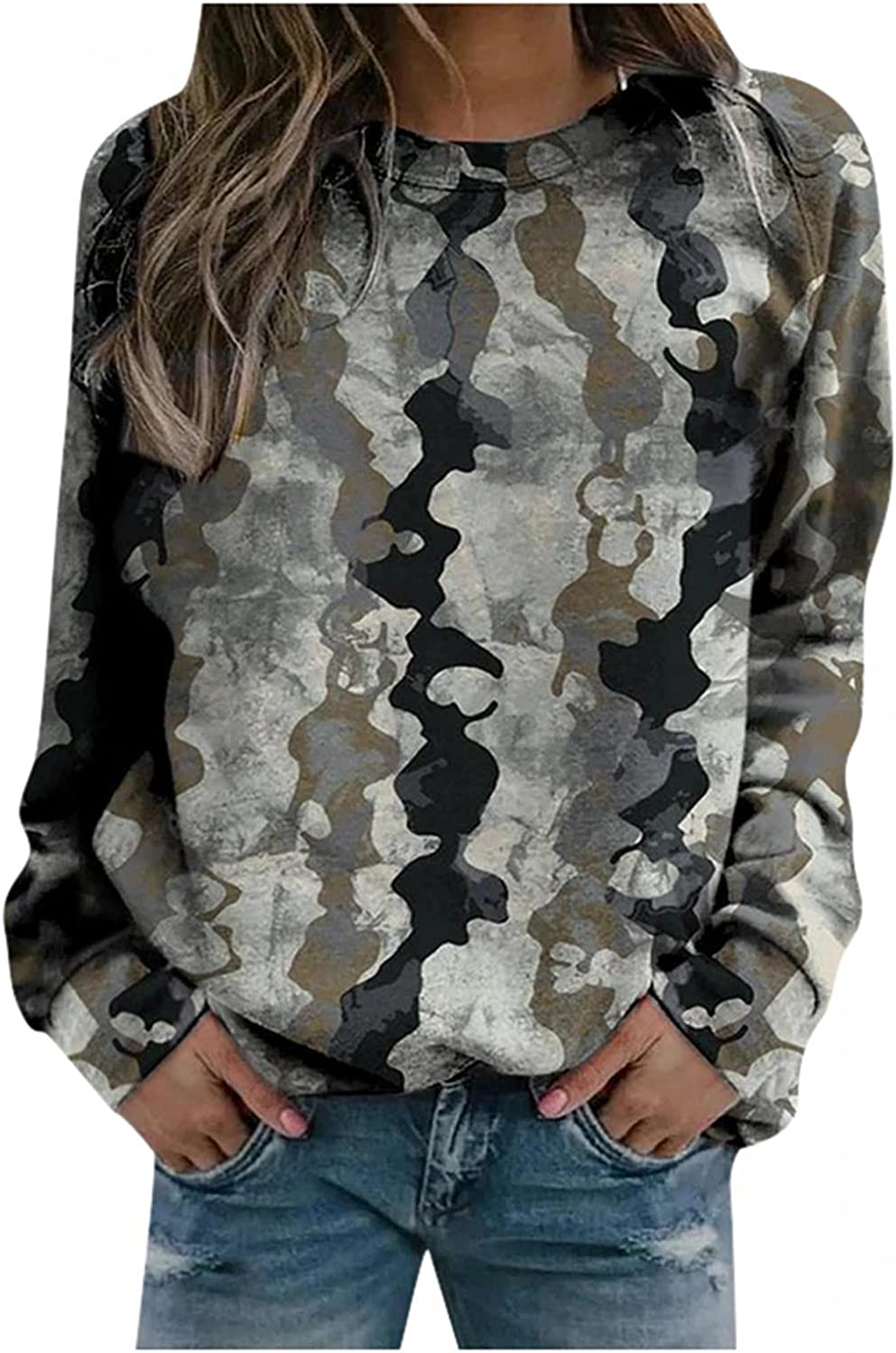 Long Sleeve Shirts for Women,Womens Long Sleeve Crewneck Sweatshirts Loose Vintage Feather Printed Thermal Pullover
