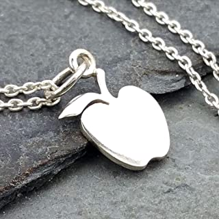Tiny Apple Charm Necklace - 925 Sterling Silver, 18