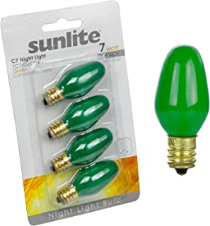 Sunlite 7C7/G/CD4 Incandescent 7-Watt, Candelabra Based, C7 Night Light Colored Bulb, Green, 4 Pack