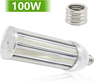 JHD 100W Warm White 3500K E26/E27 LED Corn Light Bulb with E39/E40 Adapter Super Bright LED Bulb (2000W Metal Halogen/HID/HPS Equivalent), LED Bulbs for Indoor Garage Warehouse Mall House Porch, etc.