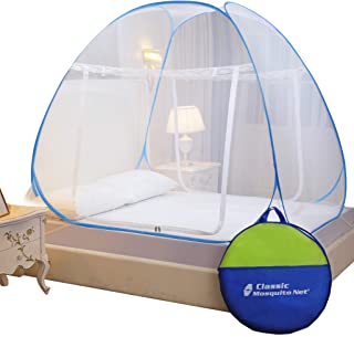 Classic Mosquito Net Double Bed King Size Polyester Foldable - Blue