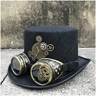 SHENTIANWEI Men Women Handmade Steampunk Top Hat with Gear Glasses Stage Magic Hat Party Hat Size 57CM