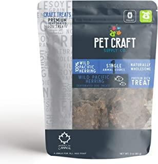 Pet Craft Supply Dehydrated Pure Wild Pacific Herring Natural Dog Treats a Great Alternative to Freeze Dried Healthy Dog Treats and Cat Treats