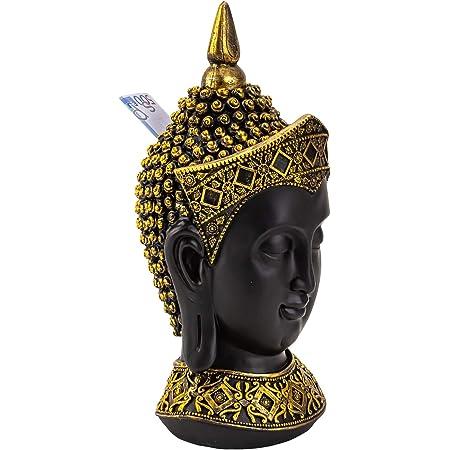 Lifestyle /& More Salvadanaio Moderno salvadanaio Testa di caff/è Testa di Buddha Nera con Cappuccio Dorato in Pietra Artificiale Altezza 33 cm