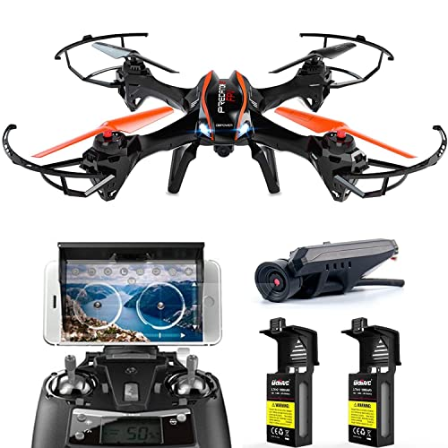 DBPOWER Predator U842 WIFI RC Quadcopter Drone with HD Camera 2.4G 4CH 6 Axis Gyro Headless Mode For Beginners, Big Size Black for Outdoor Use