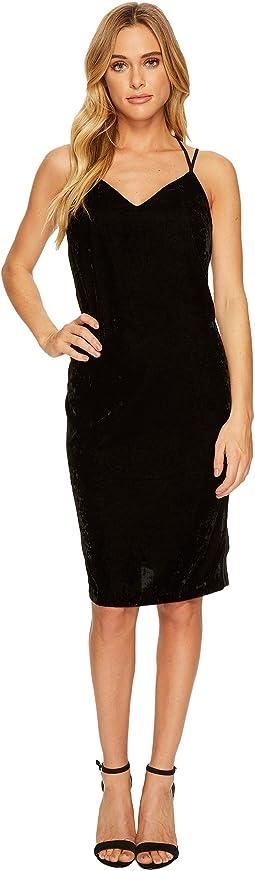 Velvet Slip Dress w/ Tuxedo Trim Sides