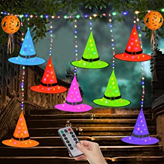 TECBOSS Halloween Decorations Outdoor, Colorful LED Hanging Lighted Witch Hat 36FT 8 Lighting Modes USB/Battery Powered wi...