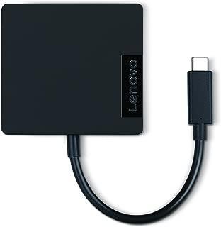 Lenovo USB-C 4-in-1 Travel Hub, HDMI, FHD VGA, USB 3.0, RJ45 Gigabit Ethernet, Compatible with ThinkPad, Yoga & More, GX90M61235, Black