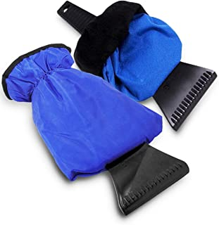 Zento Deals Waterproof Ice Scraper Vehicle Mitt - 2-Pack Blue Car Windshield Ice Snow Remover Glove