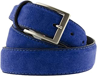 La Bottega del Calzolaio Cintura camoscio blu elettrico uomo donna 3,5 cm artigianale made in Italy