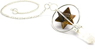 Healing Crystals India Reiki Gift Set | Chakra Dowsing Pendulum Pendant for Divination Tiger Eye Merkaba Star Pendulums Crystal Necklace for Women with Metal Hanging Chains and Carry Pouch