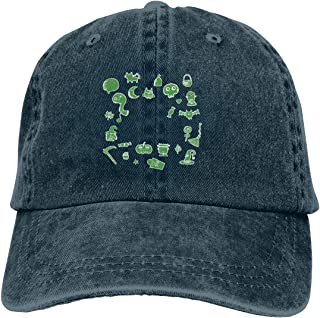 46ca906bad8 Green Halloween Illustration Cartoon Unisex Baseball Cap Cotton Denim Hot  Adjustable Sun Hat for Men Women