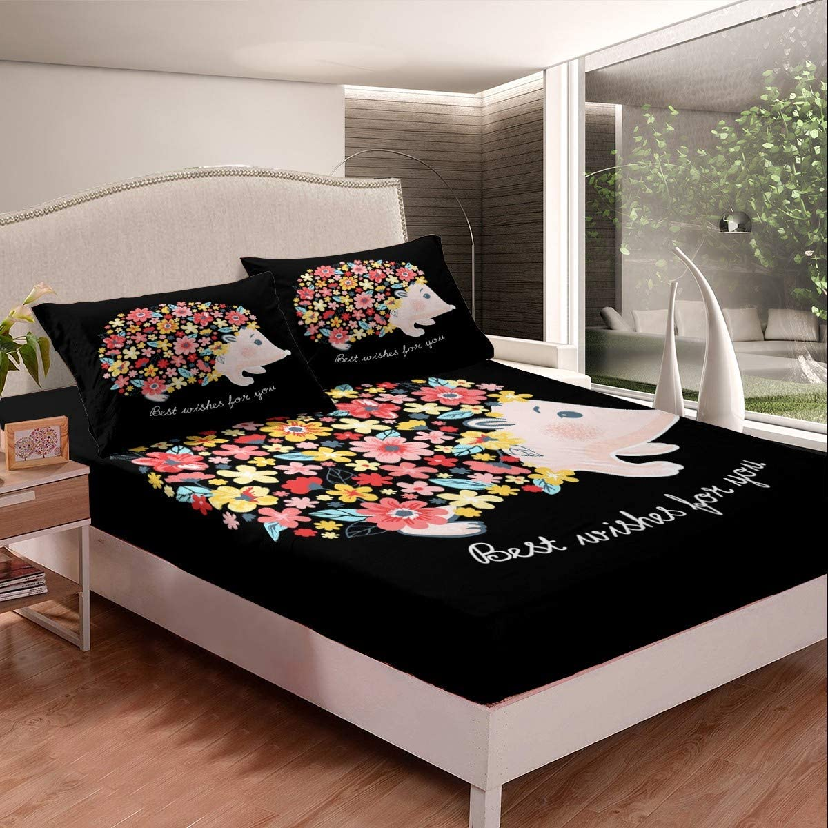 Cute Cartoon Hedgehog Bedding Set Floral Colorful Sheet Bed Year-end Fresno Mall gift