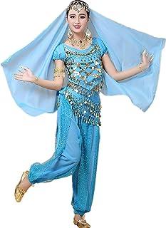 コスプレ ハロウィン アラジン衣装 パンツタイプ ベリーダンス 衣装4点セット コスチューム ジャスミン アラジン風仮装 スカイブルー