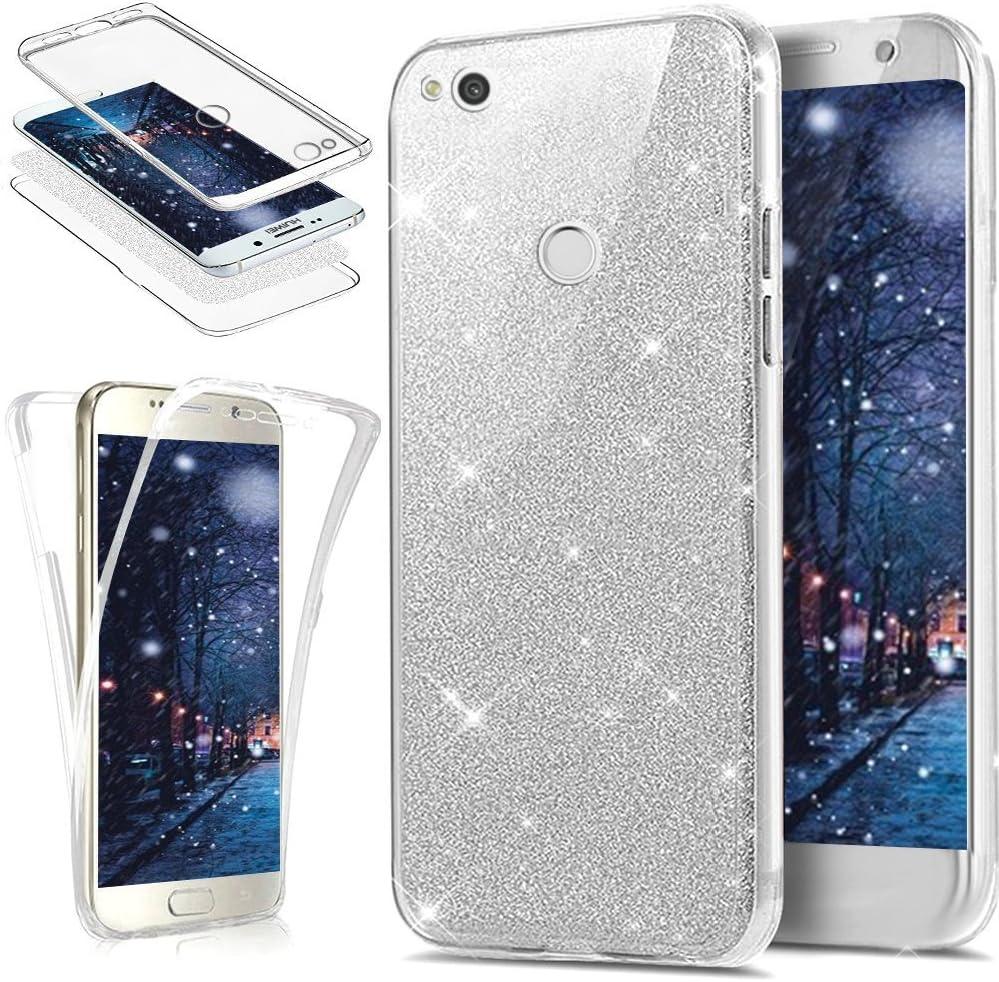 Coque Huawei P8 Lite 2017 Etui,ikasus [Support anneau] Placage brillant strass diamant Miroir Silicone Gel TPU Souple Housse Etui de Protection Case ...