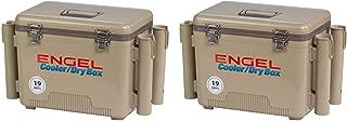 Engel 19-Quart Fishing Rod Holder Insulated Cooler Case, Tan (2 Pack)