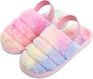 Toddler Little Kids Plush Fluffy Slippers Warm Fleece Faux Fur Slip On Indoor House Home Slippers for Boys and Girls