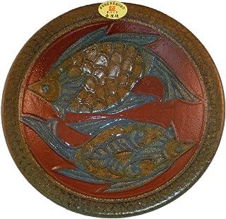 清正陶器 小皿 (赤) φ18cm 2匹 赤絵魚紋皿