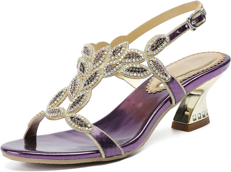 LizForm Women Ankle Strap Buckle Sandals Rhinestone Evening Sandals Comfort Metallic Heels