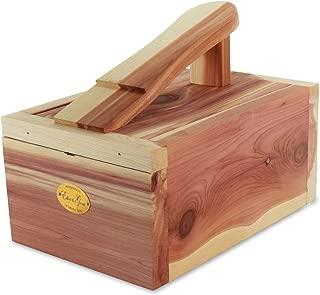 HANGERWORLD Natural Cedar Wood Shoe Shine Care Box with Foot Rest