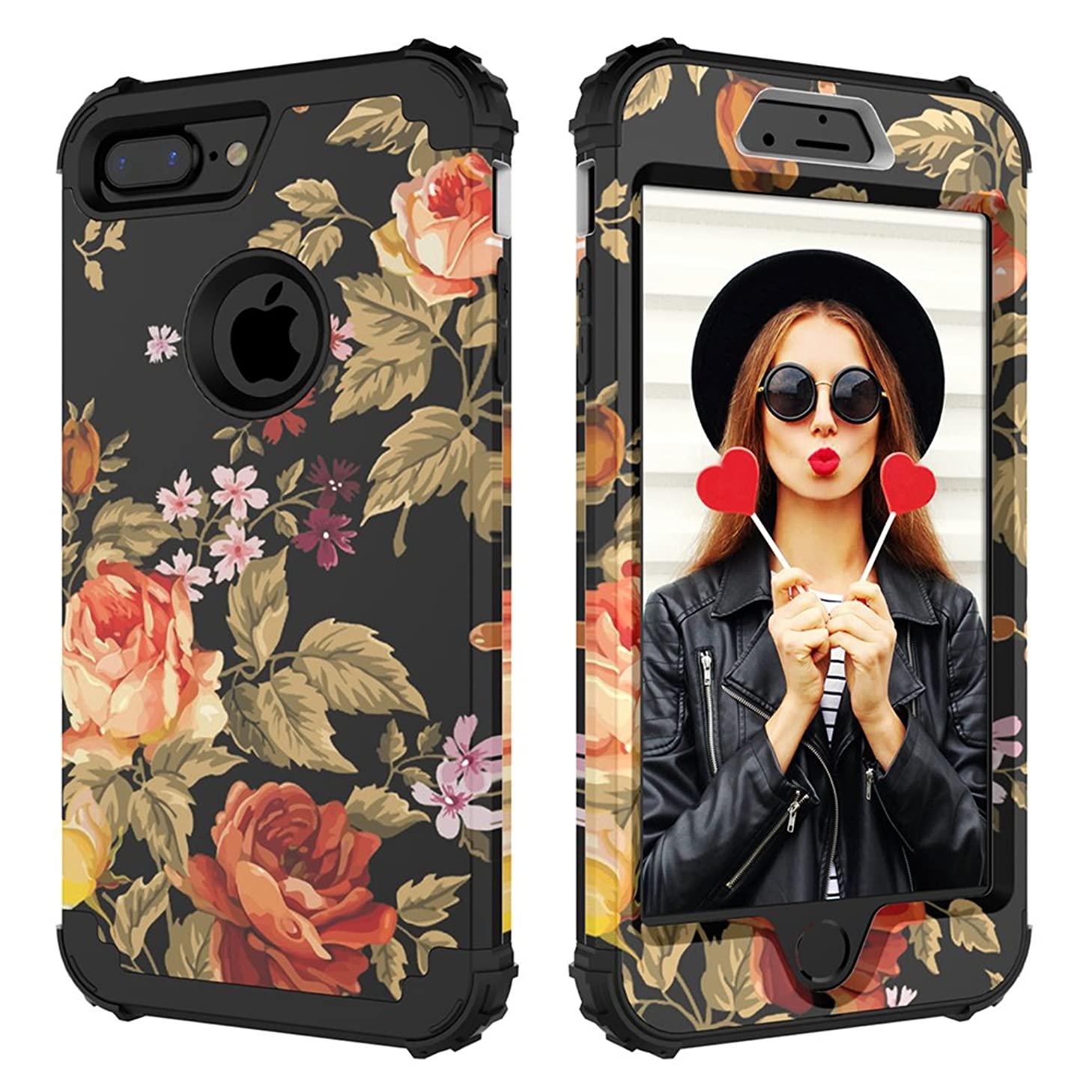 Digital Hutty 3 in 1 Shockproof Heavy Duty Full-Body Protective Cover for Apple iPhone 7 Plus/iPhone 8 Plus, Flower