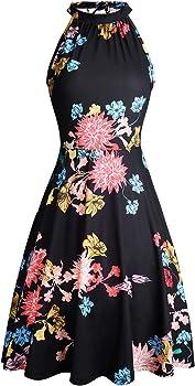 e28de8900c4 OUGES Women s Halter Neck Floral Summer Casual Sundress only  22.99 ...