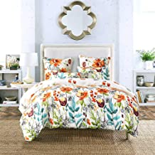 Bedding Rustic Simple Flowers White Polyester Set Bedroom Three-piece Pillowcase * 2 / Quilt Cover Soft and comfortable (Size : Queen)