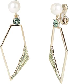 Carolee Women's Large Pearl Geometric Drop Clip Earring