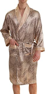 3d5366a3d3 Haseil Men s Luxurious Kimono Robe with Shorts Summer Printed Silk Satin  Bathrobes