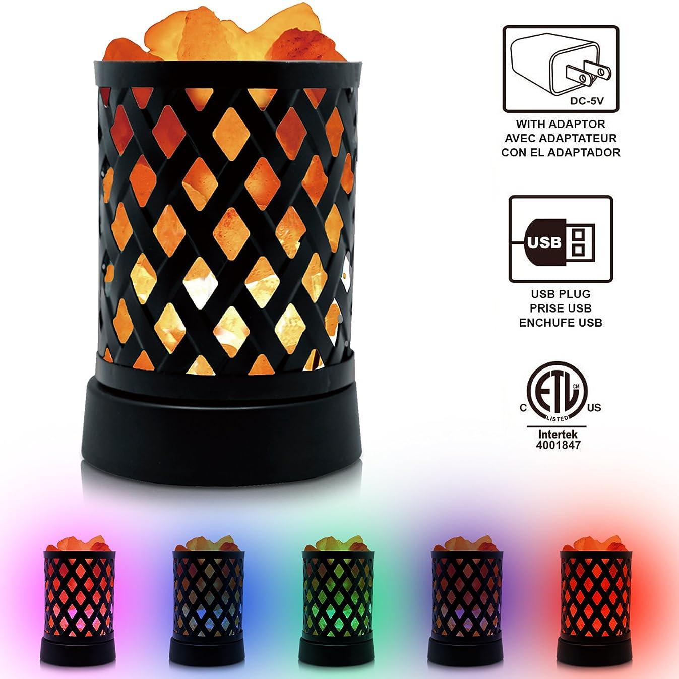 Himalayan Glow 903AC Lattice USB Salt Lamp, Multicolor Night Light with Pink Salt Chunks
