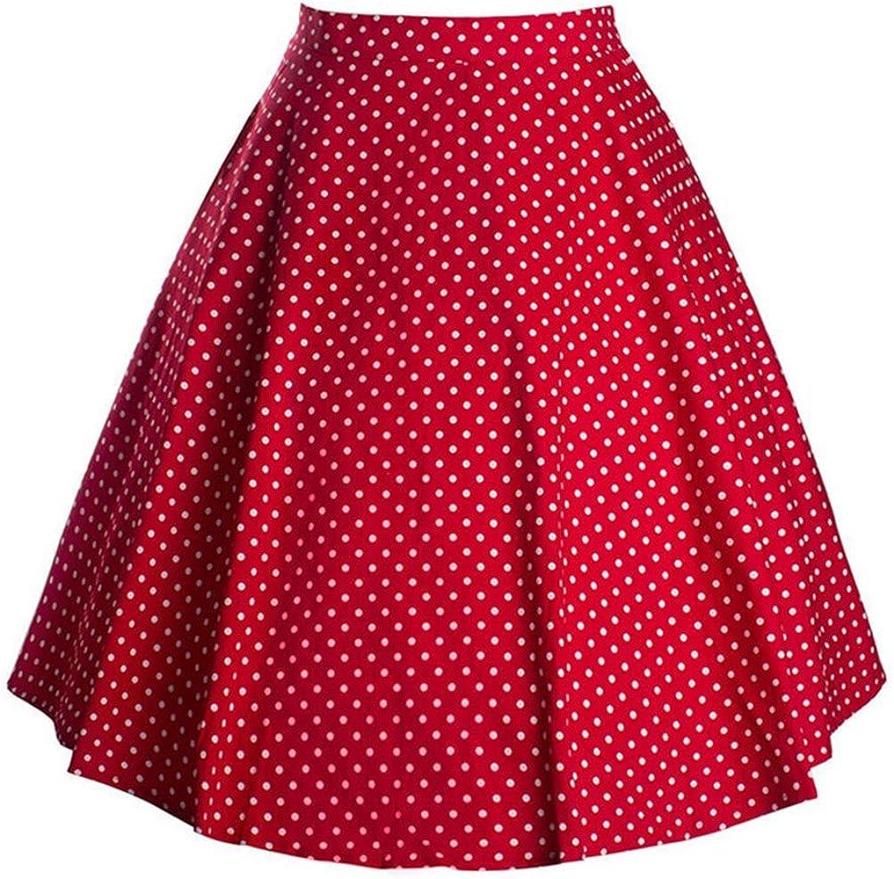 Qingsun Women's Pleated Vintage Retro Skirt Polka Dot Smock Waist Swing Casual Party Skirts
