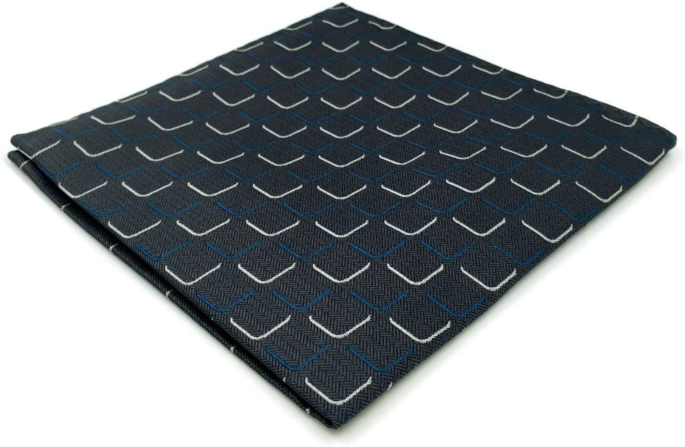 EH17 Dark Grey Geometric Silk Mens Pocket Square Dress Classic Handkerchief Groom Fashion Hanky