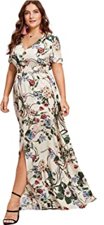 Milumia Women Plus Size Floral Party Homecoming Button up Split Flowy Maxi Dress