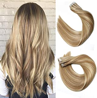 Tape In Hair Extensions 8A 20pcs/50g Per Set #12P613 Golden Brown Highlighted Blonde Piano Color Double Sided Tape Skin Weft Remy Silk Straight Hair Glue in Extensions Human Hair 18 Inch