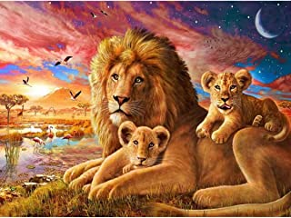 DIY 5D Diamond Painting Full Round Drill Kit Rhinestone Picture Art Craft for Home Wall Decor 12x16In Lion House