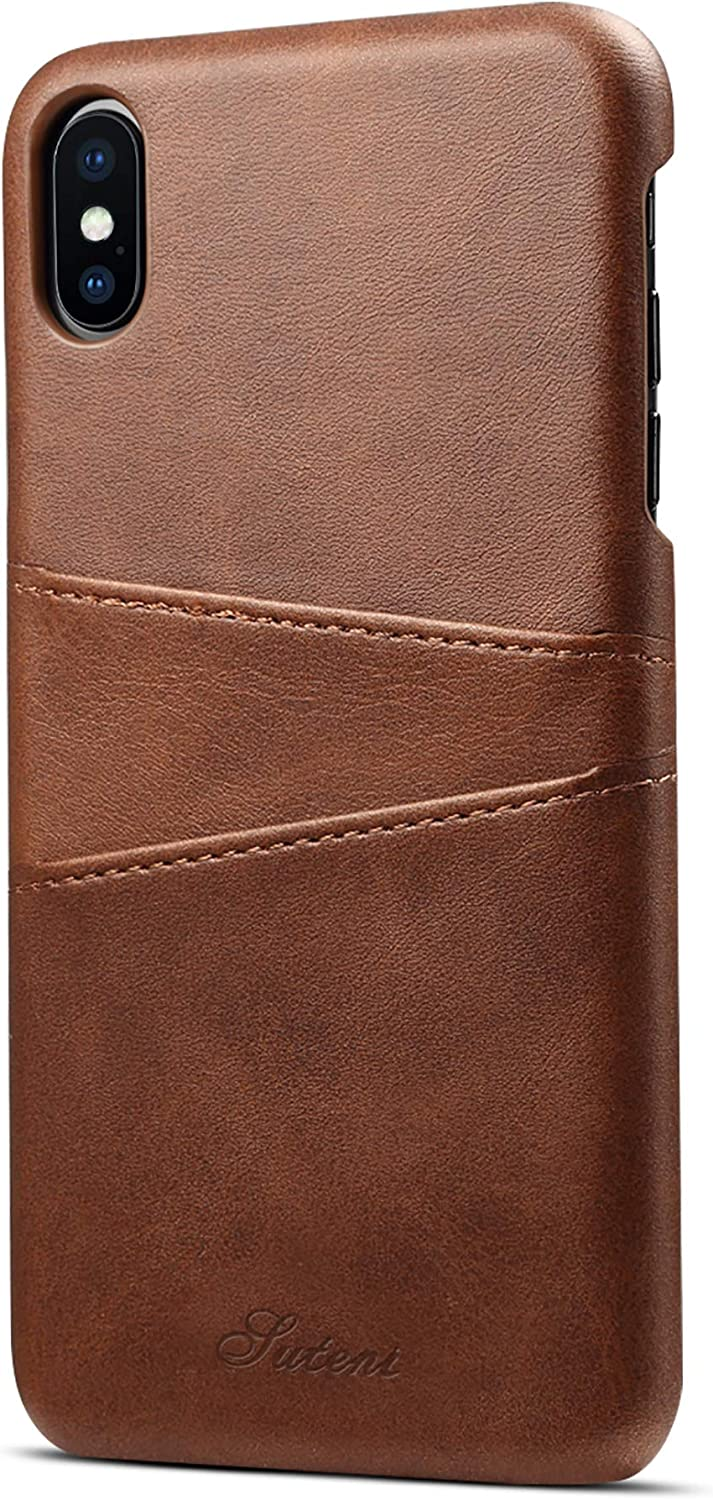 iPhone Xs Max Wallet Phone Case, XRPow Slim PU Leather Back Protective Case Cover with Credit Card Holder for iPhone Xs Max 6.5inch Brown