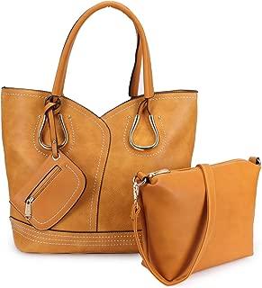 Women 3 in 1 Large Tote Handbag Top Handle Shoulder Bag W/Crossbody Pouch Bag Coin Purse